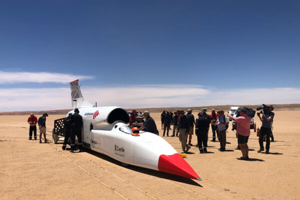 A British team is developing a car that will be capable of reaching 1,000mph (1,610km/h). Powered by a rocket bolted to a Eurofighter-Typhoon jet engine, the vehicle aims to show its potential by going progressively faster, year after year. Current high-speed trials have seen Bloodhound top 500mph.